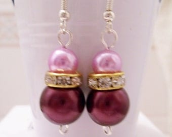 Burgundy and pink pearl earrings - burgundy and pink pearl beaded earrings - Swarovski banded earrings - burgundy earrings - pink earrings