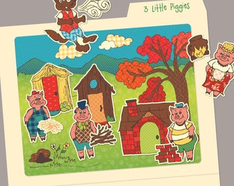 3 Little Pigs Printables: File Folder Game or Preschool Activity - Instant Digital PDF Download