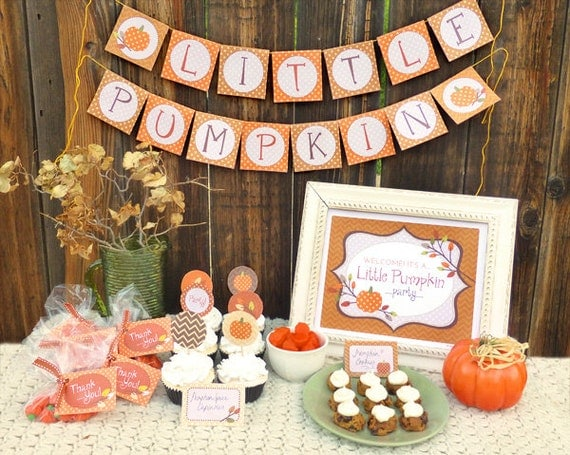 Items similar to autumn party printable set baby shower for Baby shower decoration set