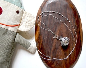 SALE /// bola pregnancy necklace with silver harmony ball and moonstones  /// 18mm chime ball /// for mothers-to-be
