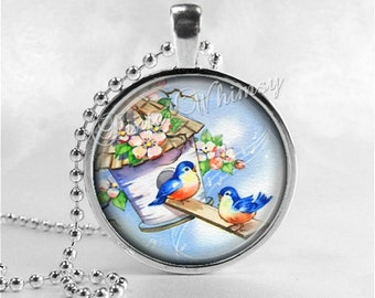 BLUEBIRD Necklace, Bird Necklace, Bluebird Pendant, Bluebird Jewelry, Blue Bird Necklace, Photo Art Pendant Necklace, Bluebird of Happiness