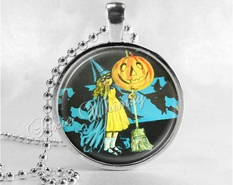 VINTAGE HALLOWEEN Necklace, Art Deco Witch, Vintage Witch, Witch Necklace, Witch and Jack O Lantern, Glass Art Necklace, Halloween Jewelry