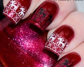 Christmas Nail Wraps Water Transfers Decal Nail Art Y350 Reindeer Salon Quality