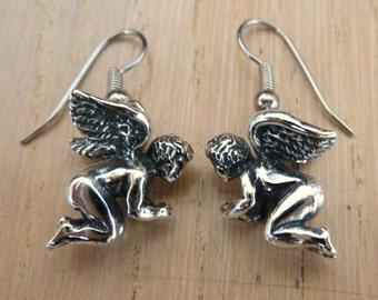 Sterling Silver Angel Cherub Earrings
