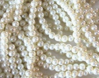 1 Strand Glass Pearl Beads, Ivory 6mm