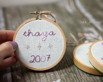 CUSTOM personalized hand embroidered hoop ornament commemorative first christmas