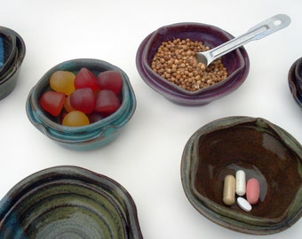 Three tiny flower bowls, Pill dishes, Paperclip holders, Small gifts in a variety of colors