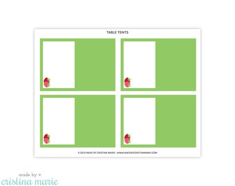 INSTANT DOWNLOAD, strawberry party, table tents, printable table tents