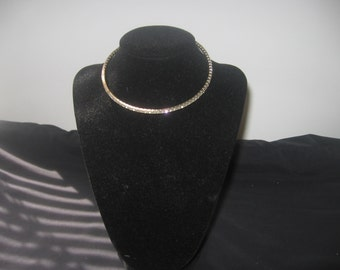Vintage rhinestone silver choker necklace accessory