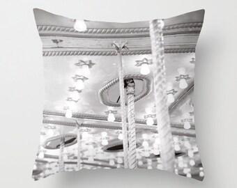 Carnival Pillow - Fair Pillow - Dreamy Carnival Cushion - Carousel Lights Pillow Black and White - 16x16 18x18 20x20 Pillow Cover