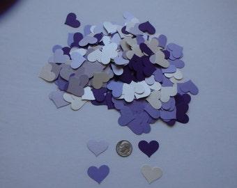 200 confetti hearts..shades of purple