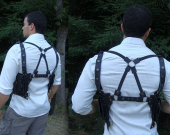 """Leather Utility Holster - Black or Brown - Shoulder Crossback Bag Pouch """"Tiger"""" Design"""