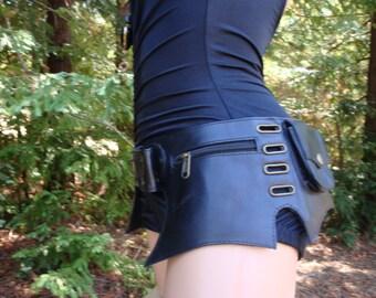 Leather Utility Burner Belt 5 pockets adjustable hip waist size
