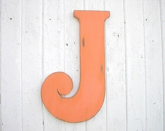 """Rustic Wedding Guestbook 24"""" J Orange Distressed Wedding Gift Decoration Nursery Letter Signage Rustic Wooden Guest Book"""
