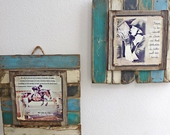 Custom Made Personalized  Photo Art Printed on Vintage Metal and mounted on reclaimed wooden frame.