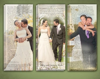 Wedding Portrait Wall Art, Triple Canvas with Combination of Wedding Vows and Bible Verse