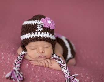 Newborn girl football hat with pink flower
