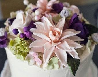 Edible Sugar Flower Dahlia 1 qty 4 inches wedding cake, birthday cake, modern wedding - open peony, wedding cake topper