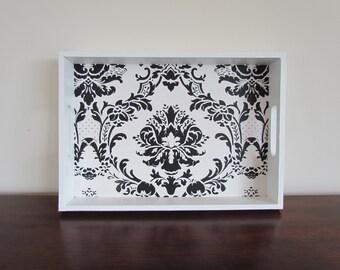 Medium White Tray with Black Damask Pattern