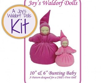 "Joy's Waldorf Dolls Kit 10"" & 6"" Bunting Baby Doll Making Kit"