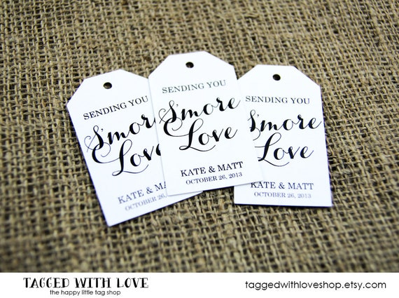 Wedding Favor Tag - LARGE SIZE - Smore Love - Custom Tag - 36 Pieces - 3.5 x 2 inches