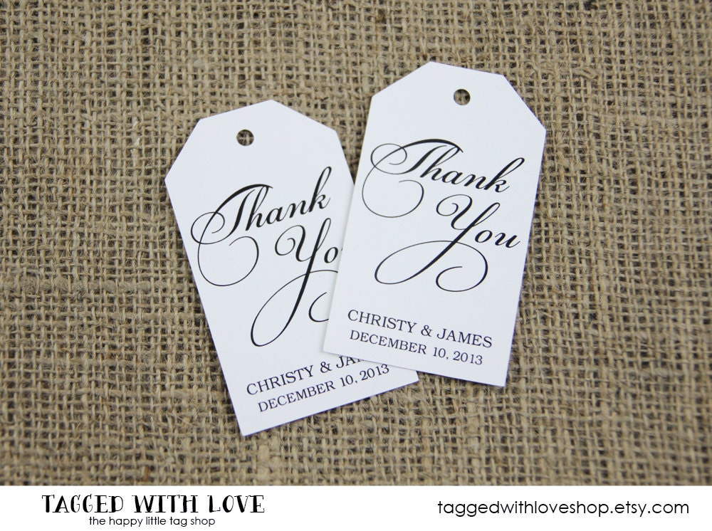 Wedding Favor Tags Thank You : Thank You Tag Wedding Favor Tag Shower by TaggedWithLoveShop