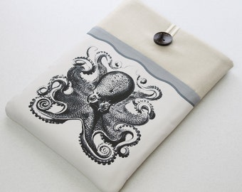 Laptop sleeve, Ultrabook Case, Netbook Cover,  front pocket, Octopus, grey, Laptop case cover, Kraken, protective travel case for laptop