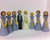 Customize your own Bride and Groom Cake Topper. Dolls are about 3-4 inches. Contact owner for details.
