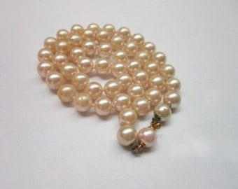 Vintage Cream Colored Individually Knotted Glass Pearl Necklace