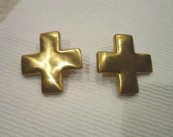 Vintage Retro Huge Gold Tone Crosses Clip on Earrings