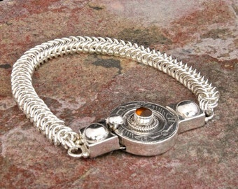 Sterling Silver Chainmaille Queensmaille Bracelet with Sterling Silver Etched Clasp