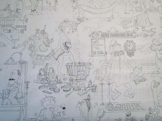 Amazing vintage bathroom wallpaper by embeebird on etsy for Vintage bathroom wallpaper designs