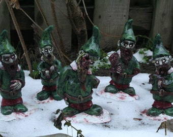 The Infected Elves - Zombie Gnome Christmas Ornaments / Decorations