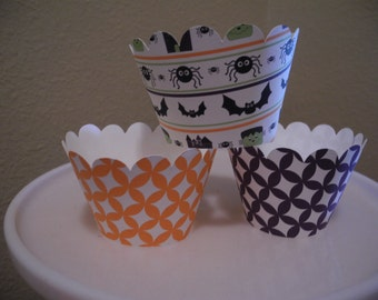 Halloween Cupcake Wrappers   Spider   Set of 12  Bat