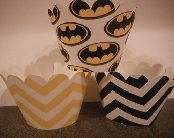Batman Cupcake Wrappers   Set of 12