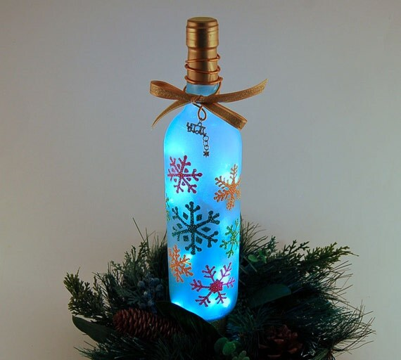 Christmas Wine Bottle Accent Lamp With Multicolored Snowflakes