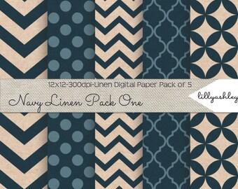 Linen Texture Digital Paper Pack of 5--12x12 Downloadable JPG Papers Linen Texture with Navy in Chevron, Polka Dot, Quatrefoil, Etc.