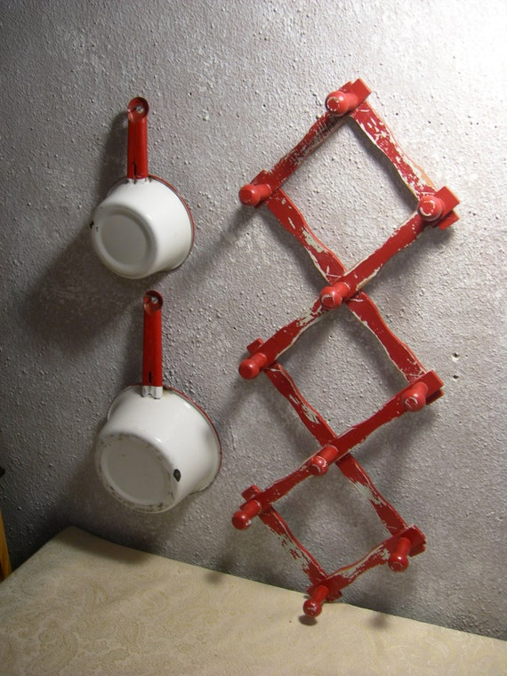 I Need Ideas For Decorating My Living Room: Vintage Wood Expandable Folding 10-peg Wall Hanger By