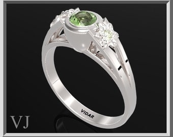 Flower Engagement Ring,925 Sterling Silver Three Stone Flower Engagement Ring With Green Peridot,3 Stone Engagement Ring