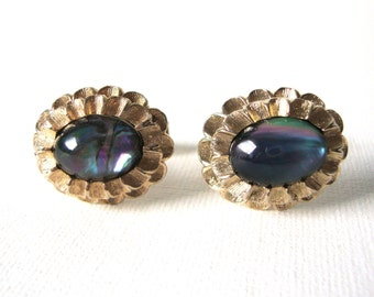 Vintage Vermeil Sterling Silver Floral Cufflinks centered With Opalescent Stone
