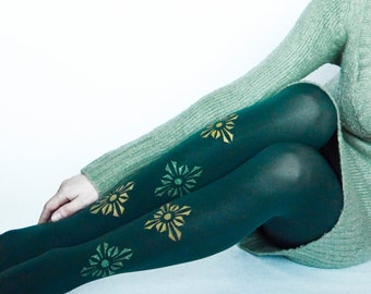 HANDPAINTED Full Length Tights ,Dark Green Pantyhose,Design Leggings,Fashion Pantyhose