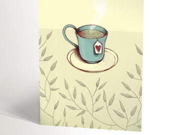 Illustration card with cup of tea and heart | comfort get well soon | tea lovers | green tea japan | 4,25'' X 5,5''