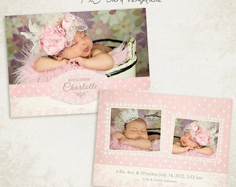 Birth Announcement Template -  7x5 Photo Card - Sweet Baby 012 - ID090, Instant Download