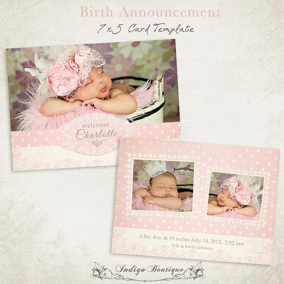 birth announcement template 7x5 photo card by indigoboutique. Black Bedroom Furniture Sets. Home Design Ideas