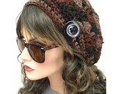 Fall Colors Boho Souchy Hat With button Hand Crocheted women teens fashion accessories