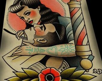 Rockabilly Lady Barber  Barbering Tattoo Print Art
