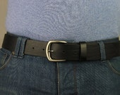 Men's High-Quality Black Leather Belt Changeable Handmade fit-all Retro (1101)