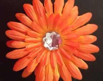 4 Inch Orange Gerber Daisy Flower Hair Clip