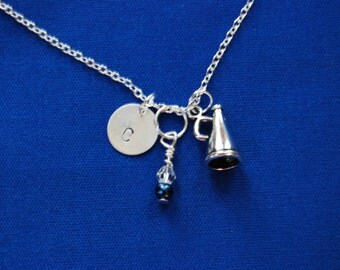 Customized Cheerleading Megaphone Necklace with Hand Stamped Initial and Swarovski Crystal- on sterling silver Chai