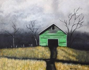 Green rusty barn painting